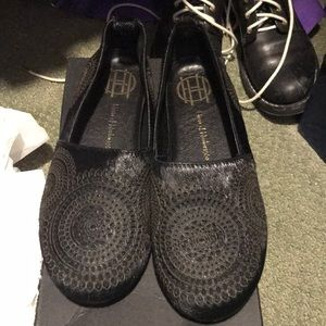 6.5 black pony hair embroidered smoking loafer